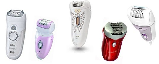 Different brands of epilators.